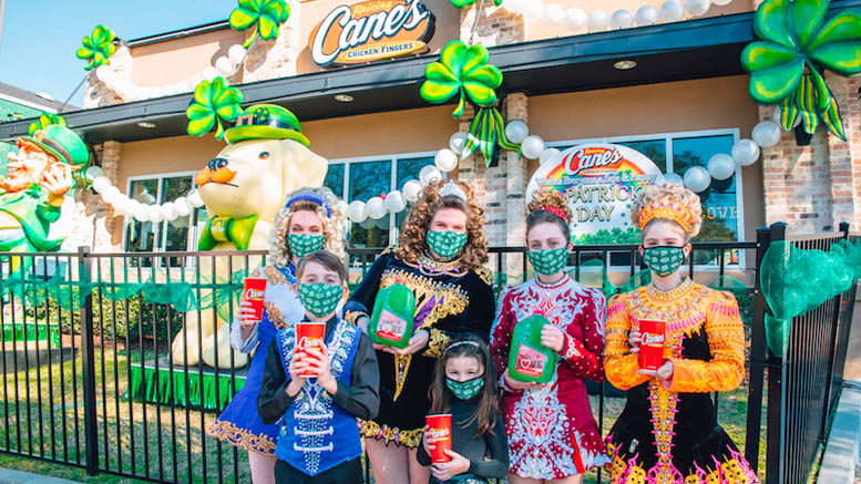 Raising Cane's Celebrates St. Paddy's Day with St. Charles Ave. House Float and 'Reverse Parade' to Fight Hunger